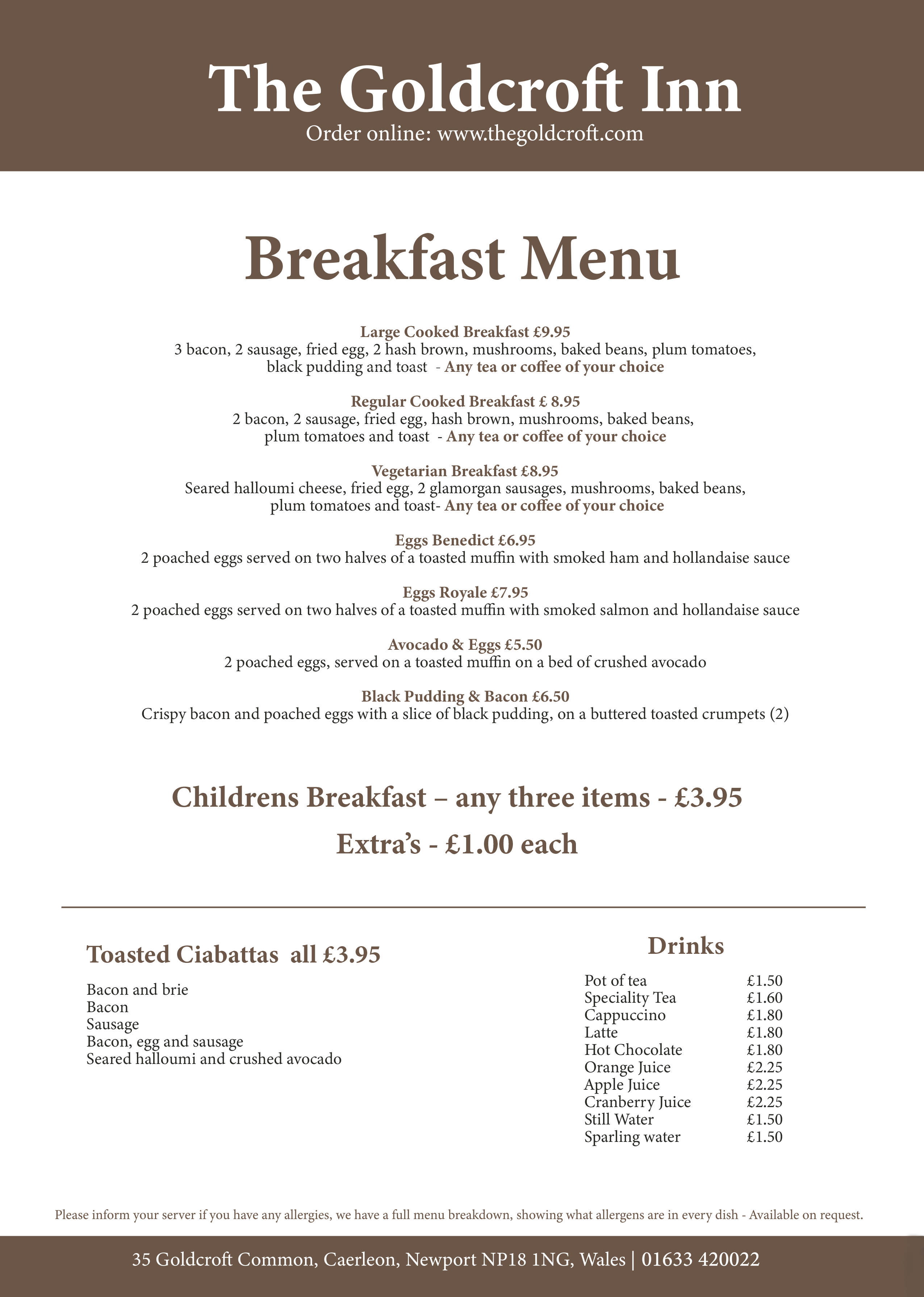 Goldcroft NEW breakfast menu september 2020