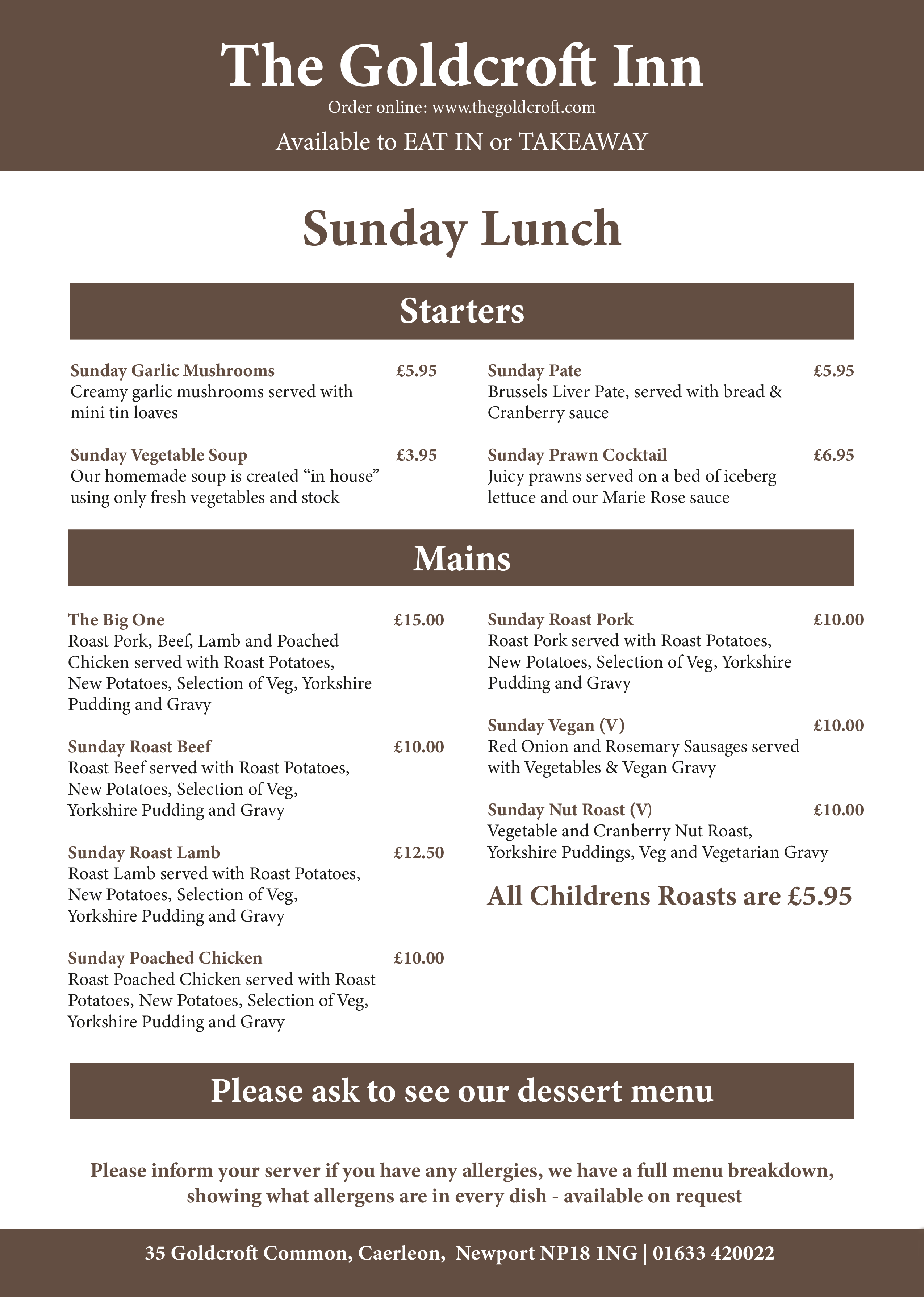 Goldcroft Sunday Menu