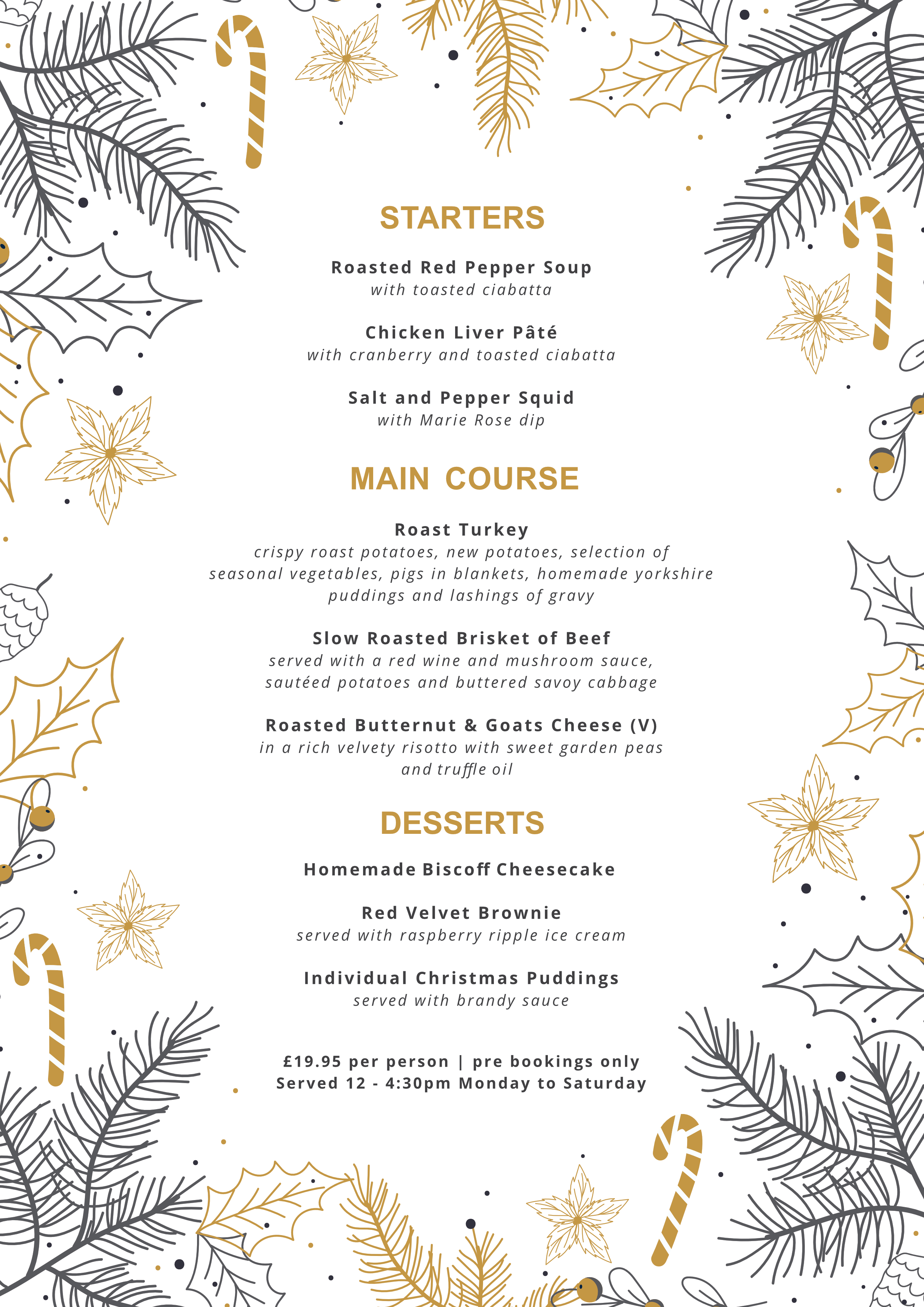 Goldcroft xmas menu