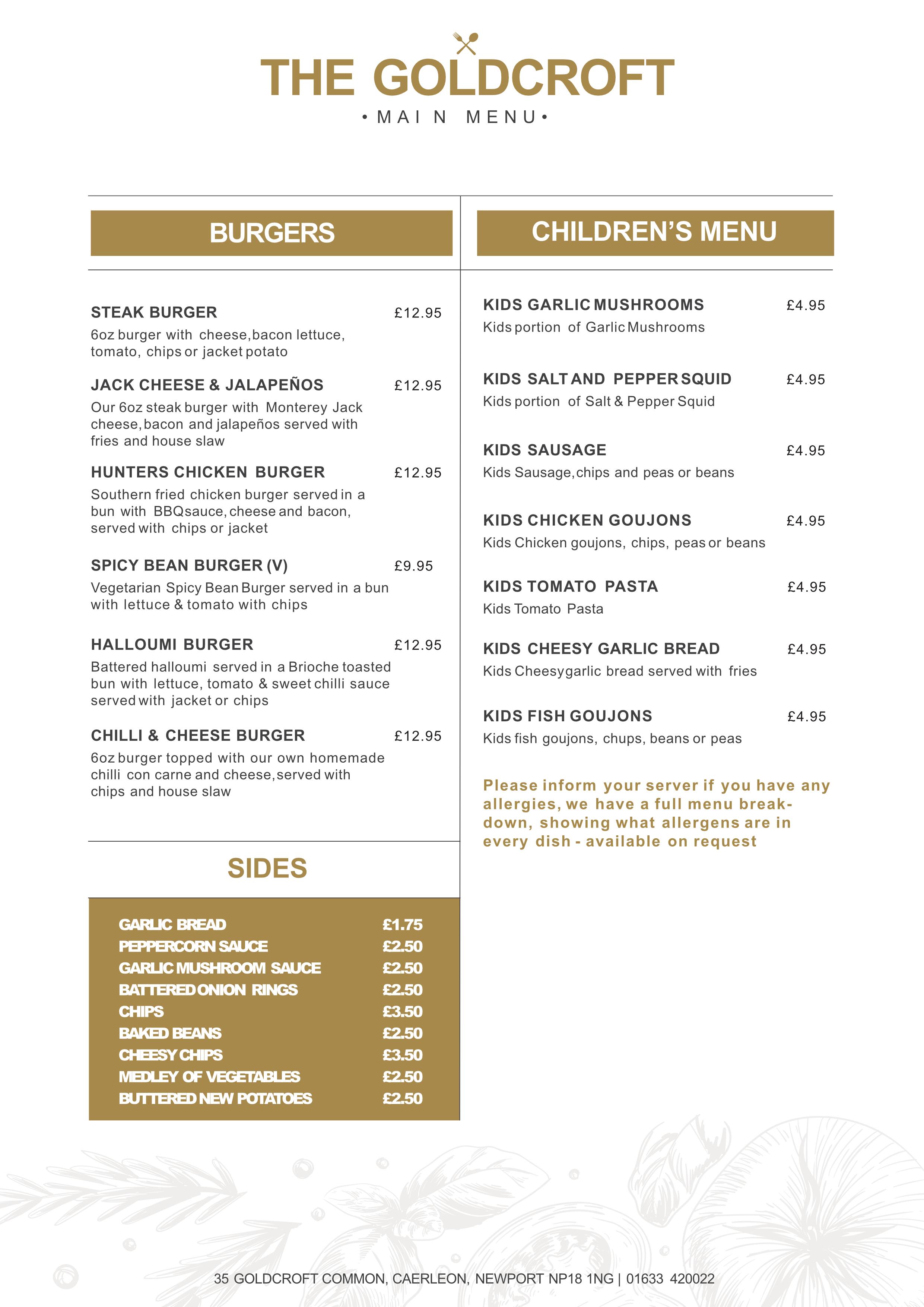 the goldcroft new menu pg2